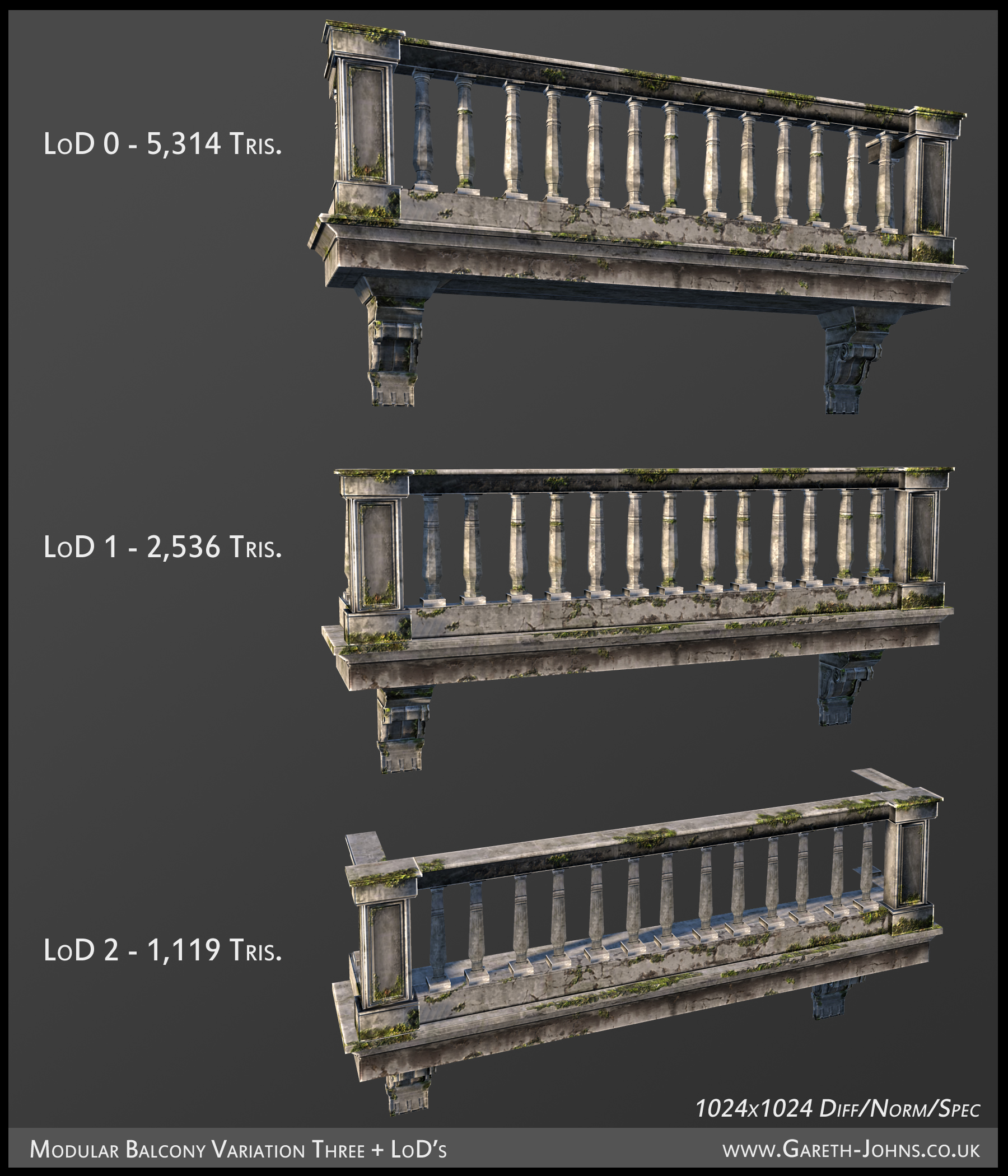 Modular building assets balcony final texture gareth johns for Balcony models